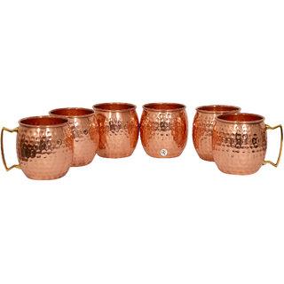 Pure Copper Hammered Beer Mug - Set of 6