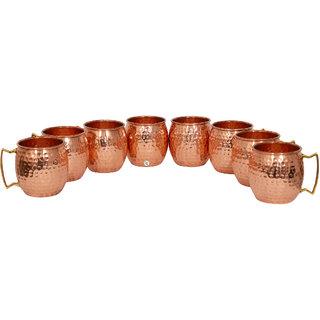 Pure Copper Hammered Beer Mug - Set of 8