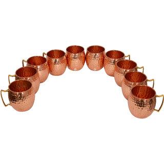 Pure Copper Hammered Beer Mug - Set of 10