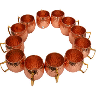 Pure Copper Hammered Beer Mug - Set of 12