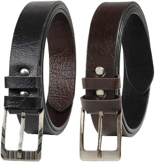 Black Brown Leatherite Pin-Hole Buckle Belts For Men Combo Of 2 (Synthetic leather/Rexine)