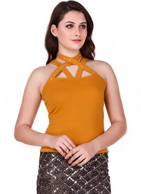 Texco Mustard Embellished Top for Women