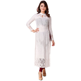 Texco Off White Party Wear Lace Striped Maxi Top for Women