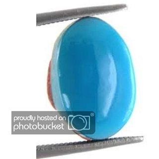 Gurpreet Gems Turquoise Stone 8.25 Ratti Certified Original Natural Oval Firoza Loose Gemstone