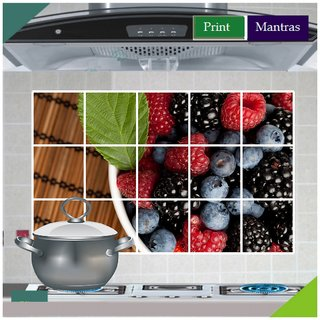Asmi Collections Berry Fruits Wall Stickers for Kitchen
