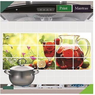 Asmi Collections Fresh Fruits Juice Wall Stickers For Kitchen
