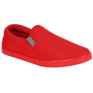 Chevit Stylish 142 Red Casual Shoes (Loafers and Mocassins) Loafers For Men (Red)