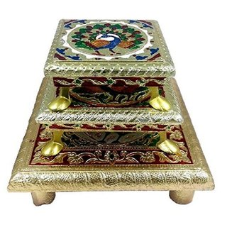 Wooden Handmade Multicolor Bojat Pooja Chowki for Idols  Set of 3