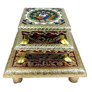 Wooden Handmade Multicolor Bojat Pooja Chowki for Idols  Set of 3