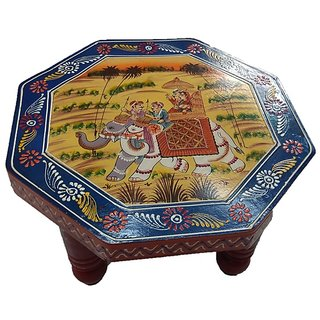 Wooden Table/Small Stool/Chowki/ Plant Table Handmade Vintage Wooden Puja Chowki 12 inch
