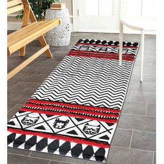 The Home Talk Cotton with Tufting Floor Rug (Red 60x150cm)