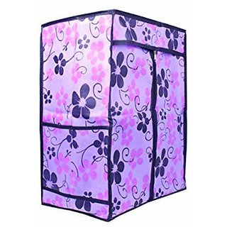 PrettyKrafts Folding Multipurpose Rack/Mini Wardrobe with Floral Print Cover Plastic Shelves for/Books/Living Room Extra Side Pockets - Purple