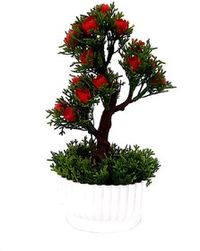 Adaspo Adaspo Artificial Green Leaves  Red Flowers Small Plant with Fancy Melamine Pot Size 9 Inches-22 cm Artificial P