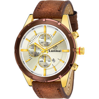 Lamkei Imported Chronograph Display Silver Dial Brown Leather Strap Mens Watch  LMK-0049