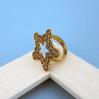 JewelMaze Star Shape Antique Gold Plated Mirror Adjustable Finger Ring