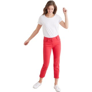 Timbre Women Crop Length Mid Rise Regular Fit Soft Red Jeans