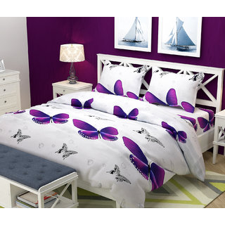 Choco White Butterfly Double Bedsheet Pack of 1+ 2 Free Pillow Cover