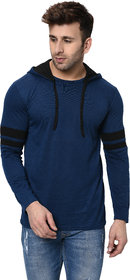Jangoboy Men's Hooded Full Sleeves Dual Tone Round Neck Casual Tshirt