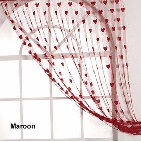 HomeStore-YEP 1 Piece Heart Door Curtains, Size 7 x 4 FT, Color  Maroon
