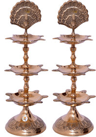 Brass Mor Chirag 3 Floor Diya Set Of 2