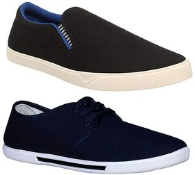 Chevit Men's Combo Pack of 2 Casual Shoes (Loafers and Sneakers) CB-102+110