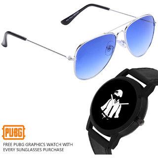 PUBG Blue Gradient UV 400 Mercury Sunglasses with Free PUBG Watch