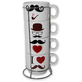Eastern Club Stylish Matt Finish Elegant Mustache Design Printed Ceramic Tea/Coffee Mug for Office Home Medium Mug 220