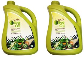 Gaia Pure Olive Oil 10 Litre  (Pack of 2 Can of 5 Litre)