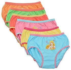 BODYCARE Pure Cotton Multi-Coloured Barbie Panties for Girls  Kids (922-Packof6)