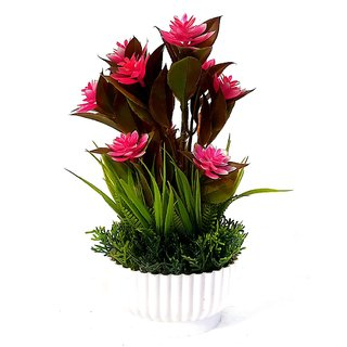 Adaspo Artificial Pink Rose  Green Leaves Small Plant with Fancy Melamine Pot Bonsai Wild Artificial Plant with Pot (23