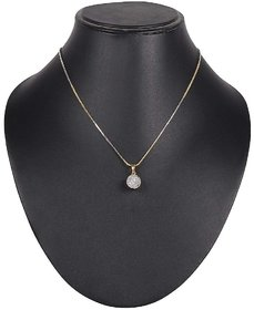 Ankur dazzling gold plated american diamond pendant and chain for women