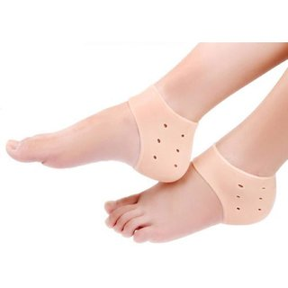Kushahu Silicone Gel Heel Pad Socks For Cracked Heels and Swelling Pain Relief For Men and Women - (Free Size) (1 Pair)