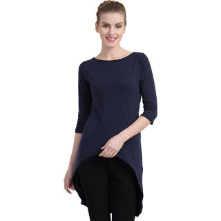 Cliths Women's Cotton Slim Fit Back Long Tshirt Dress/ Casual Tunic Top For Women (Navy Blue_Small)