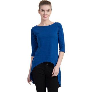 Cliths Women's Cotton Slim Fit Back Long Tshirt Dress/Long Tunic Top (Royal Blue_Small)