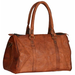 Leather bag Unisex Leather Softsided Duffle (Tan 16-Inches) SE1