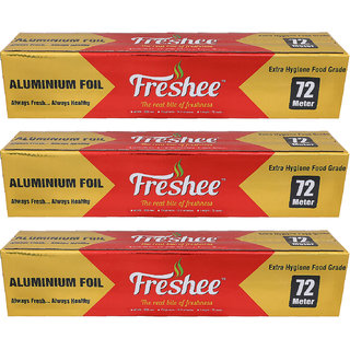 Freshee 72 mtrs 10.5 microns thick Aluminium Kitchen Foil Roll Pack of 3 for Multipurpose use with High Quality Standard