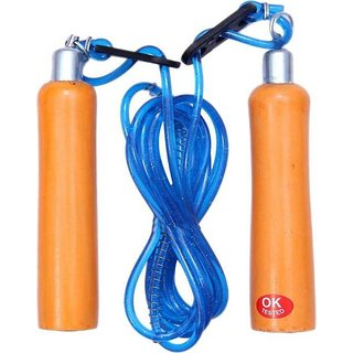 ( Fitness)Wooden Handle ( Multicolor ) Freestyle Skipping Rope  (Multicolor, Pack of 1)