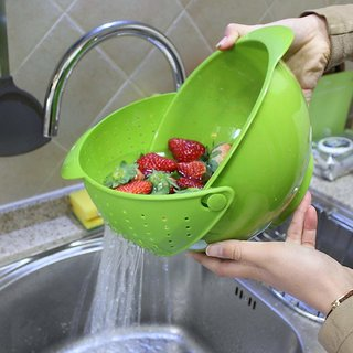 Dish Water Sink Vegetable Fruit Drainer with Handle,Perfect for Draining Pasta, Beans, Dishwasher Safe