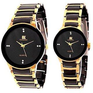 Iik Golden Quartz Couple Watch
