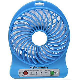 Portable Rechargeable Air Cooler Mini Operated Desk USB 3-Mode Fan, Small Personal USB or Battery Powered Fan