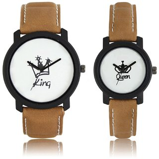 King Queen Couple Watch For Men Women Brown Belt Leather Belt Black Case White Dial
