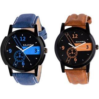 Kajaru KJR-6,4 Round Black Dial Analog Watch Combo for Men