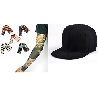 KD Sales Pack Of 1 Summer Cap + 1 Arm Sun Protect Tatto Pair (pck of 2 )