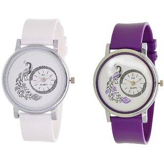 KDS Women Party Wadding White - Purple Fancy Girls Watch