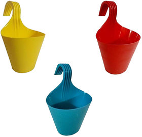 Go Hooked Hanging Planters for Plants | Railing Flower pots (Assorted Colors) (Set of 3)