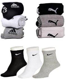 Adidas Nike Puma Cotton Multicolor Ankle Socks Pack Size 9