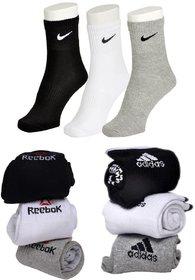 Adidas Nike Reebok Cotton Multicolor Ankle Socks Pack Size 9