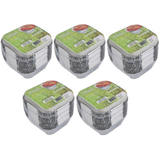 Freshee Pack of 5 x 25 pcs Aluminium Silver Foil Container 120ml Food Storage Disposable Containers with Lid For Kitch