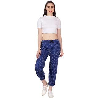 Women's ishu Printed Cotton Track pants navy blue