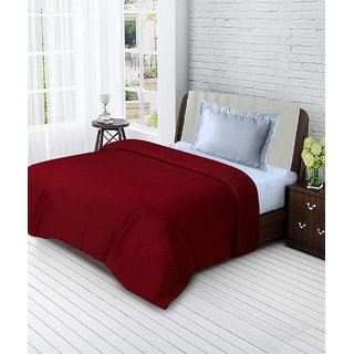 BSB Trendz Single Polar Fleece Plain Blanket-Red